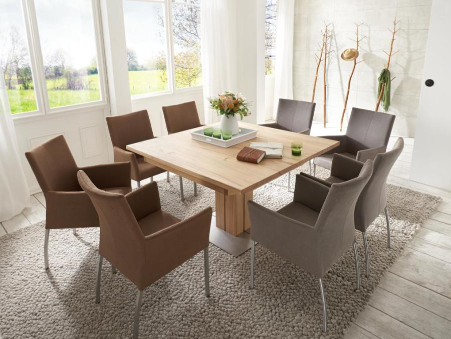 Tisch Greta, Rechteckig Oder Quadratisch, Vollmassiv, Mit Mittelsäule,  Ausziehbar